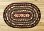Oval Burgundy Blue and Black Jute Braided Earth Rug®