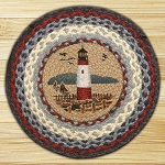 Hand Printed Chair Pad Lighthouse Jute Braided Earth Rug®