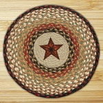 Hand Printed Chair Pad Barn Star Jute Braided Earth Rug®