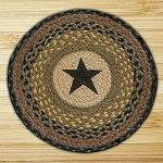 Hand Printed Chair Pad Star Jute Braided Earth Rug®