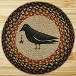 Hand Printed Chair Pad Crow and Star Jute Braided Earth Rug®