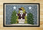 Wicker Weave Hand Print Holly Jolly Christmas Jute Braided Earth Rug®