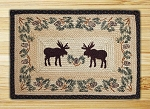 Rectangle Hand Printed Moose Pinecone Braided Earth Rug®