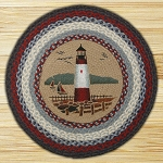 Round 27 Inch Print Patch Lighthouse Braided Earth Rug®