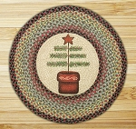 Round 27 Inch Print Patch Feather Tree Braided Earth Rug®