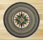 Round 27 Inch Print Patch Compass Braided Earth Rug®