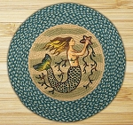 Round 27 Inch Print Patch Mermaid Braided Earth Rug®