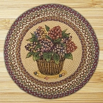 Round 27 Inch Print Patch Hydrangea Braided Earth Rug®
