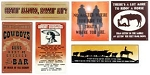 Cowboy Tin Signs Set of 6