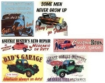 Automotive Tin Signs Set of 6