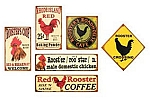Red Rooster Signs Set of 6