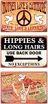 Love the Hippies Metal Signs Set of 3
