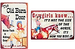 Cowgirl Pin Up Metal Signs Set of 2