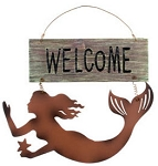 Mermaid's Welcome Metal Sign