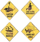 Halloween Warning Metal Signs Set of 4