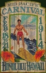 Pacific Carnival Surfing Antiqued Wood Sign