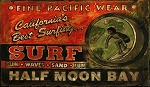 Surf Shop Half Moon Bay Antiqued Wood Sign
