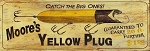 Moore's Yellow Plug Fishing Lure Antiqued Wood Sign