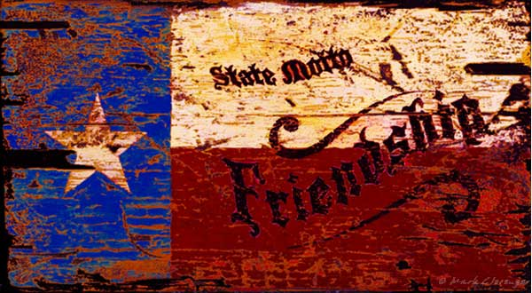Texas Flag Motto Friendship Vintage Antiqued Wood Sign