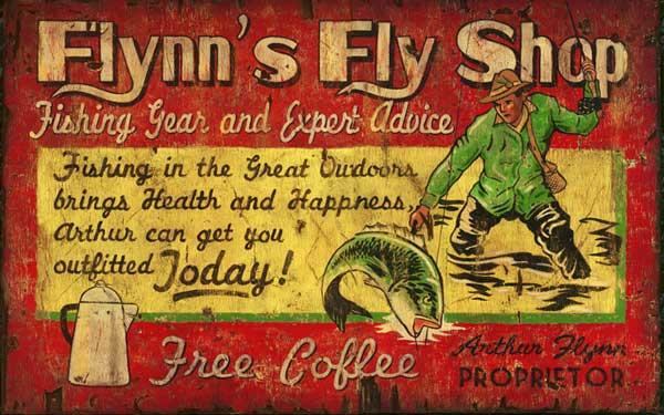 Personalized Flynn S Fly Fishing Shop Antiqued Wood Sign