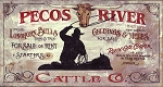 Pecos River Cattle Co. Antiqued Wood Sign