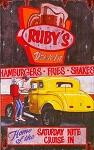 Rubys Drive In Vintage Antiqued Wood Sign