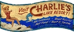 Charlies Lake Resort Water Skiing Antiqued Wood Sign