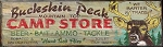 Buckskin Peak Camp Store Antiqued Wood Sign