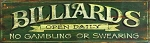 Green Billiards Antiqued Wood Sign