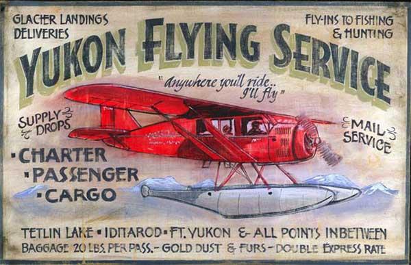 Yukon Aviation Airplane Vintage Antiqued Wood Sign