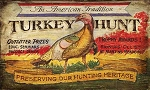 Turkey Hunt Antiqued Wood Sign