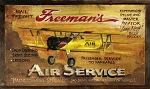 Freemans Aviation Airplane Vintage Antiqued Wood Sign