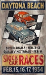 Stock Car Races Daytona Beach Antiqued Wood Sign