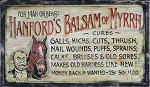 Hanford's Balsam of Myrrh Antiqued Wood Sign