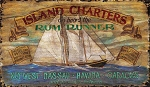 Island Charters Boat Antiqued Wood Sign