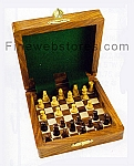 Wooden Box Chess Set with brass accents