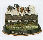 Puppies on Fence Cast Iron Door Stop