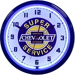 Chevy Super Service Neon Clock