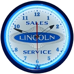 Lincoln Oval Blue Neon Clock