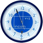 Lincoln Shield Blue Neon Clock
