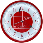 Lincoln Shield Red Neon Clock