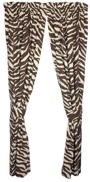 Brown Zebra Print Designer Window Curtains