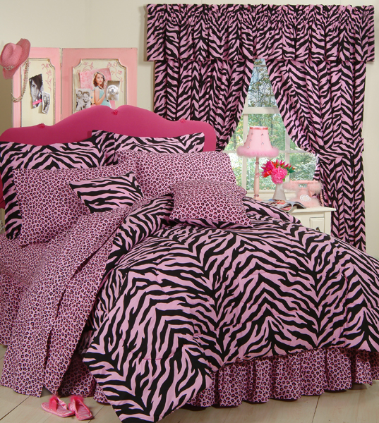 Pink Zebra Print Comforter And Bedding