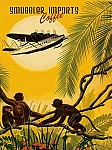 Smuggler Imports Coffee Airplane Monkey Vintage Tin Sign