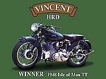 Vincent HRD Motorcycle Vintage Tin Sign