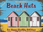 Beach Huts Vintage Metal Sign