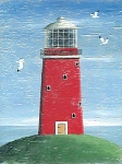 Red Lighthouse Vintage Metal Sign