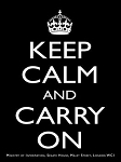 Keep Calm and Carry On Black Metal Sign