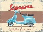 Vespa Scooter Vintage Metal Sign