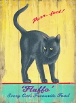 Fluffo Cat Food Vintage Metal Sign